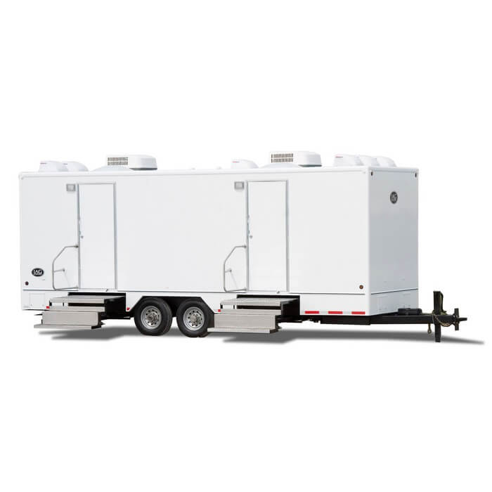 Commercial Portable Restroom Trailer available from Moon Portable Restrooms